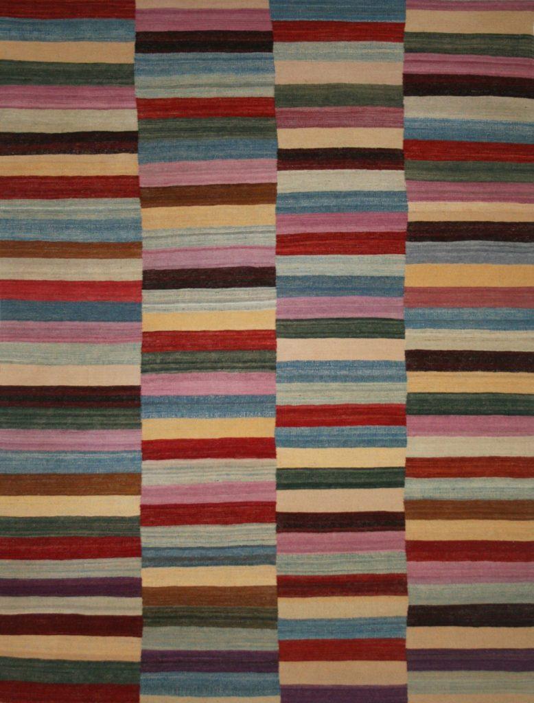 striped rug multi-coloured kelim