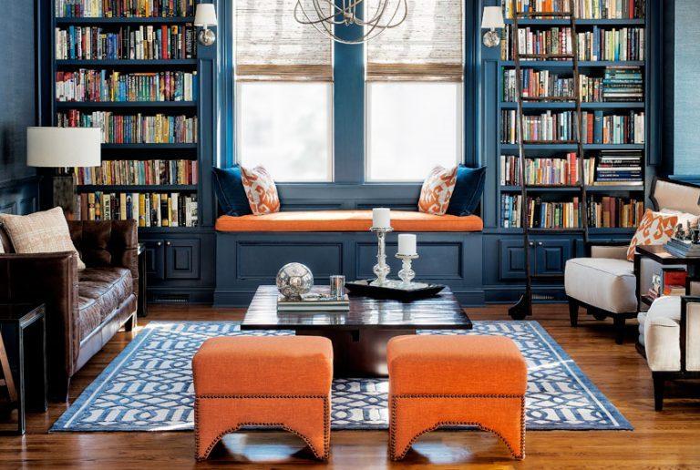 interior design 2018 orange and blue living room