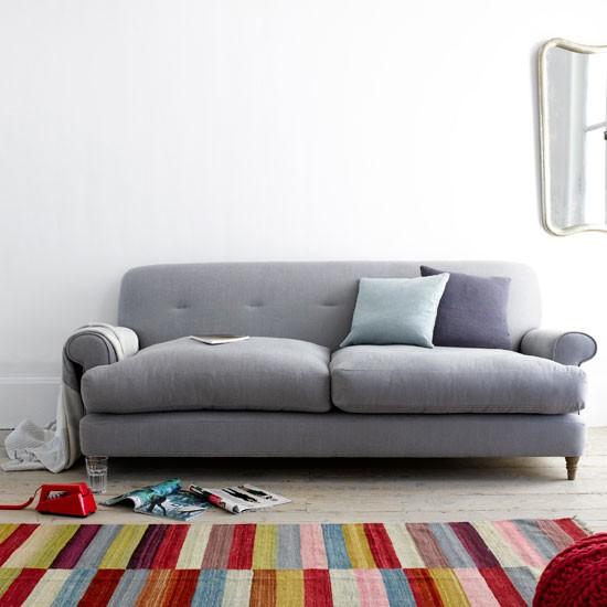 multi-coloured striped rug