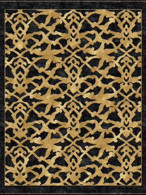 black and gold contemporary rug