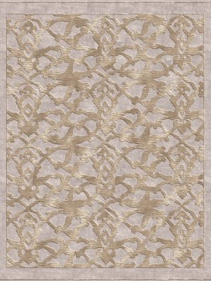 silver contemporary rug with transitional silk design