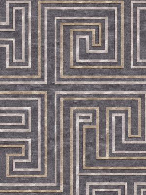 geometric contemporary rug with gold and silver