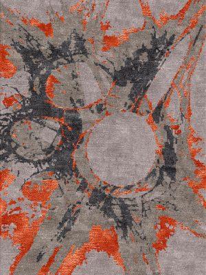 modern rug with orange silk design