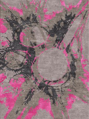 firework inspired Contemporary Rug with pink silk design