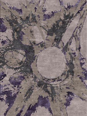 modern rug design with purple splashes