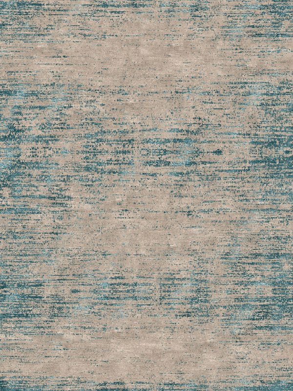 contemporary rug with teal silk and wool