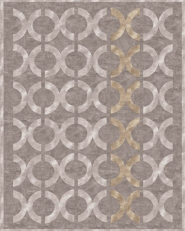 contemporary rug with silk rings