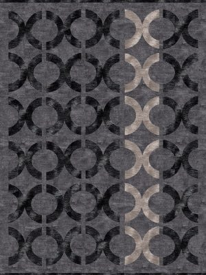 dark grey contemporary rug with black circles