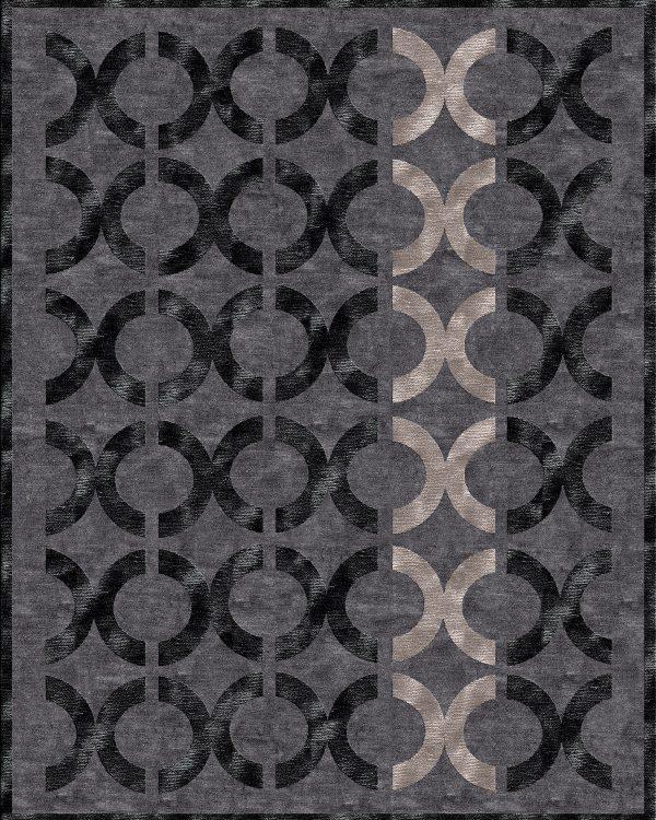 dark grey contemporary rug with black circles