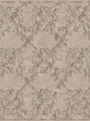 contemporary rug with silver silk design