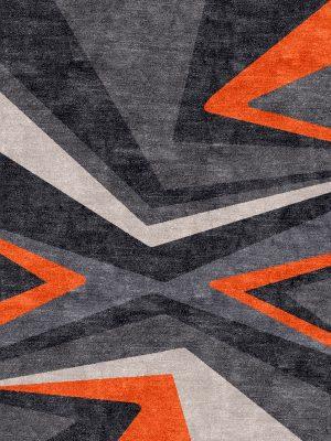 orange patterned modern rug