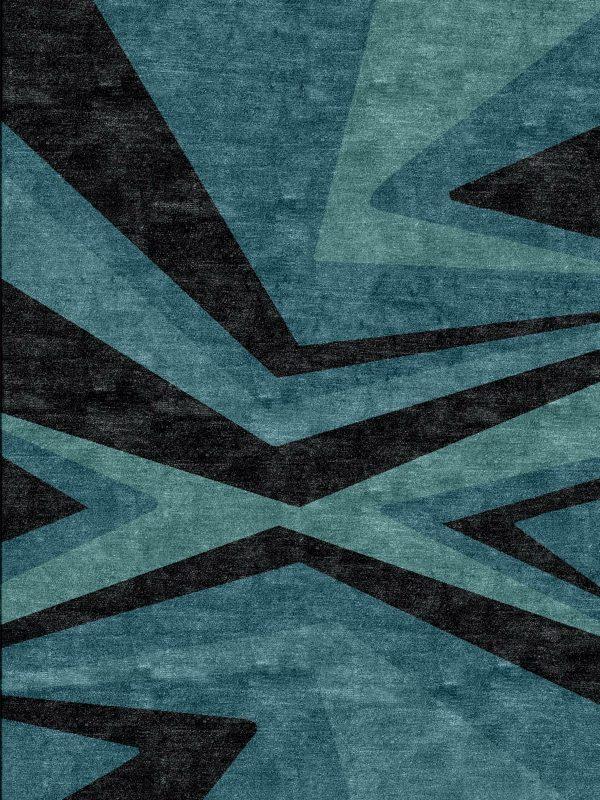 bold teal modern rug