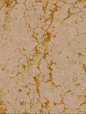 contemporary hand knotted rug with gold silk marble design