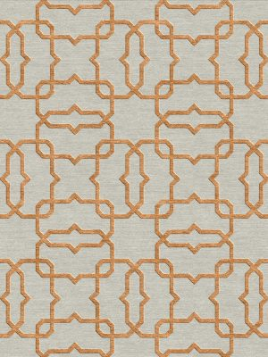 geometric trellis design rug with copper