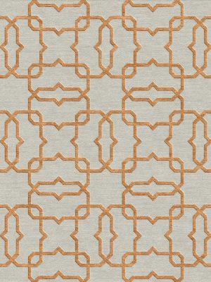 geometric trellis design rug with copper