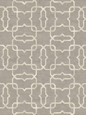 geometric trellis design with cream silk