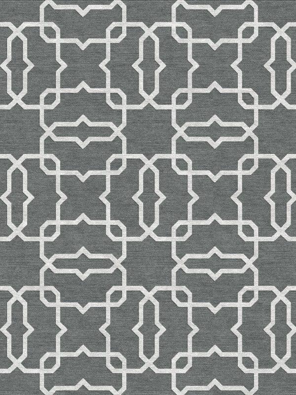 geometric trellis design contemporary grey rug