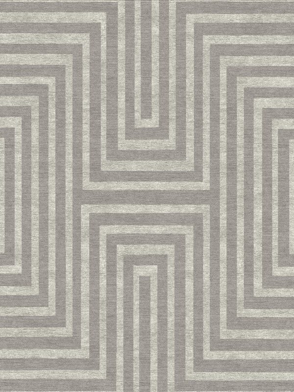 geometric contemporary rug with silver silk