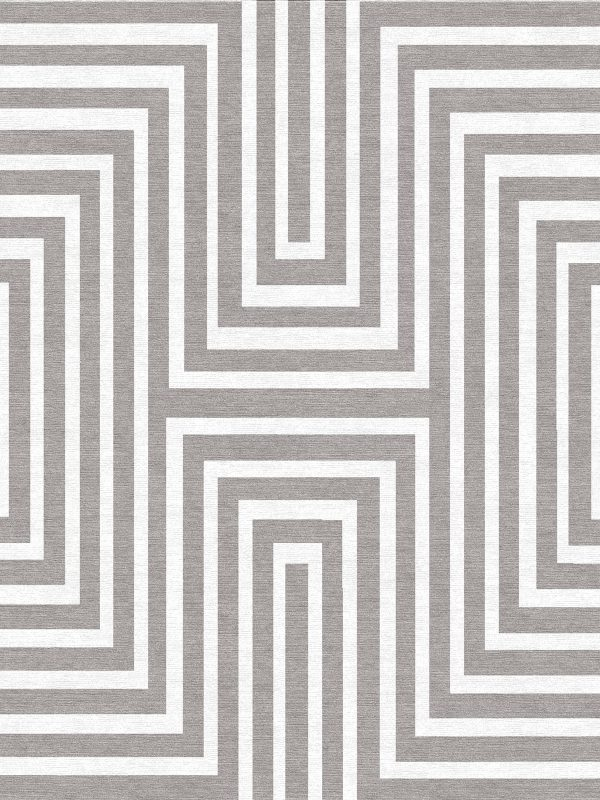 striped contemporary rug grey and white