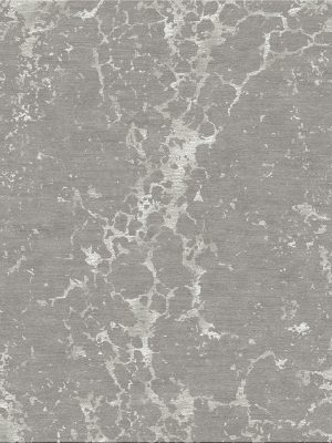 contemporary rug with silver silk and grey wool