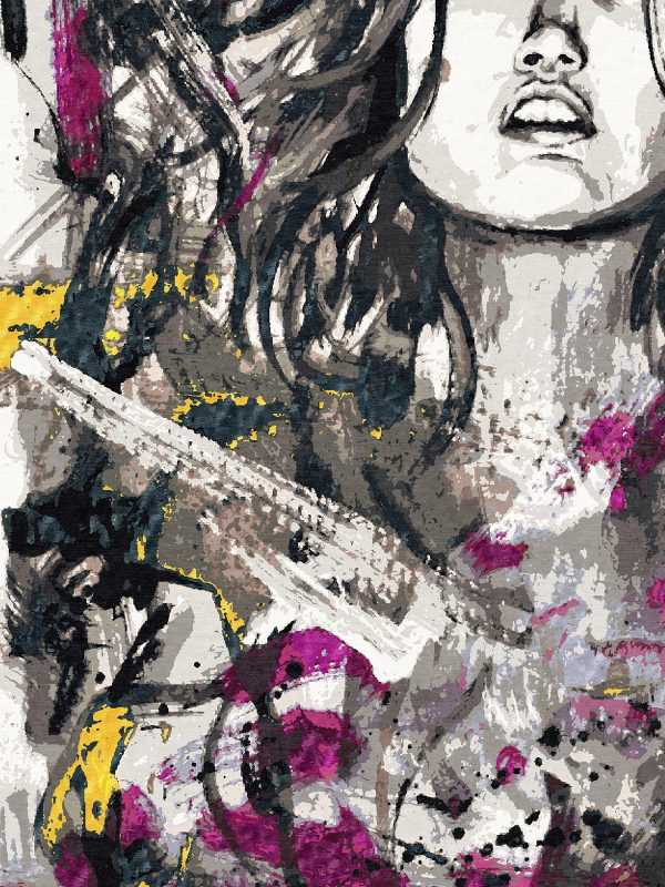 pictorial rug with girls face and edgy urban brushstrokes