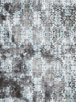luxury damask pattern rug grey and blue