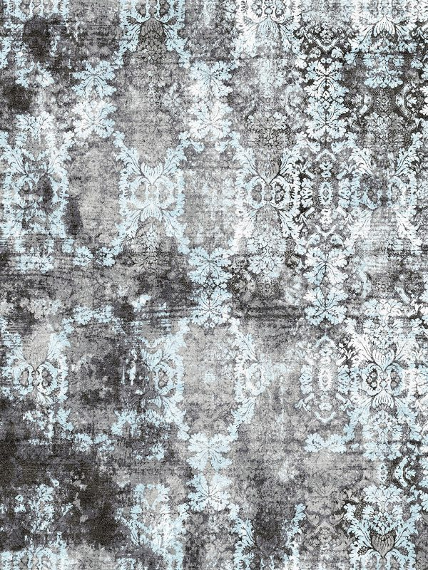 luxury damask pattern rug grey and blue