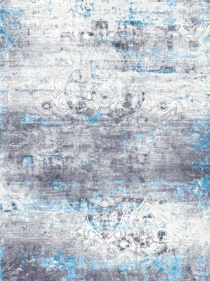 hand knotted grey and blue silk rug with transitional design