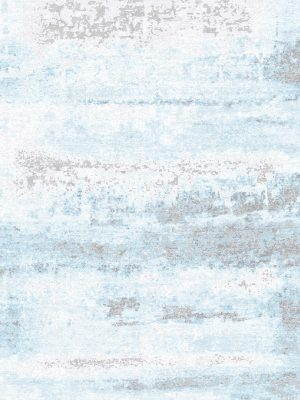 luxury wool and silk rug with blue abstract design