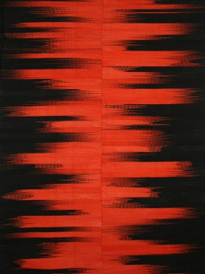 orange and black striped rug