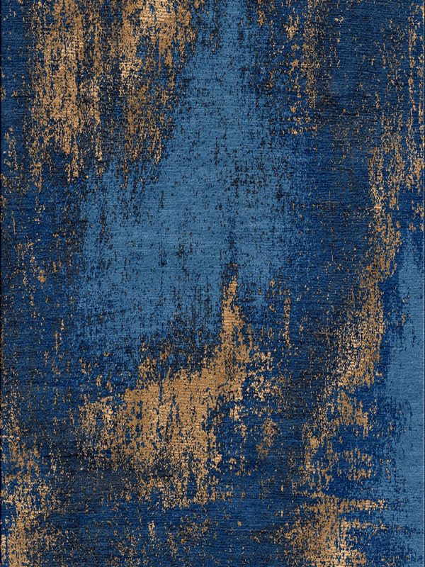blue and copper silk modern rug