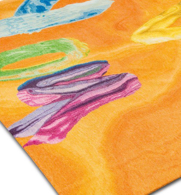 orange statement rug