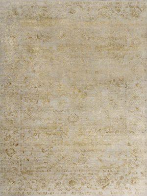 luxury designer rug with gold silk design