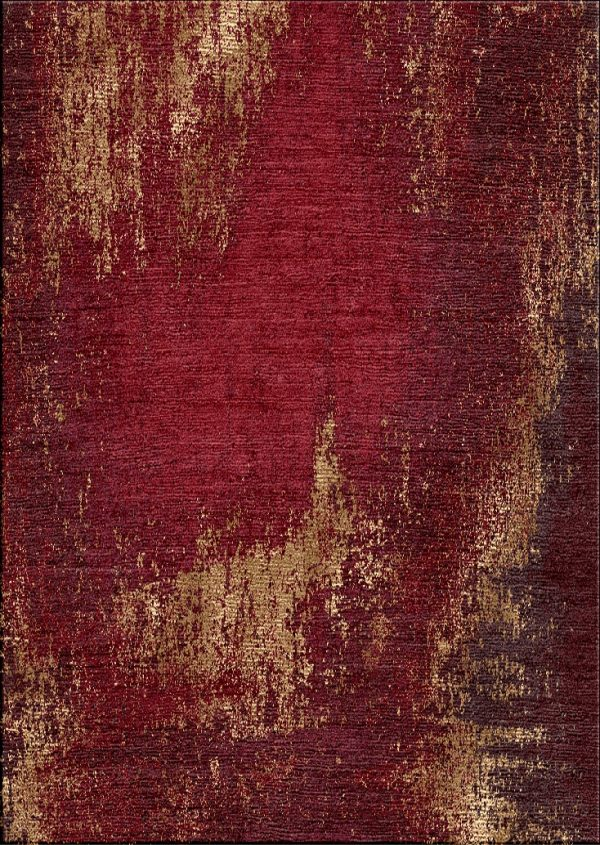 red modern hand knotted rug