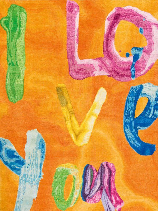 orange handwriting rug i love you