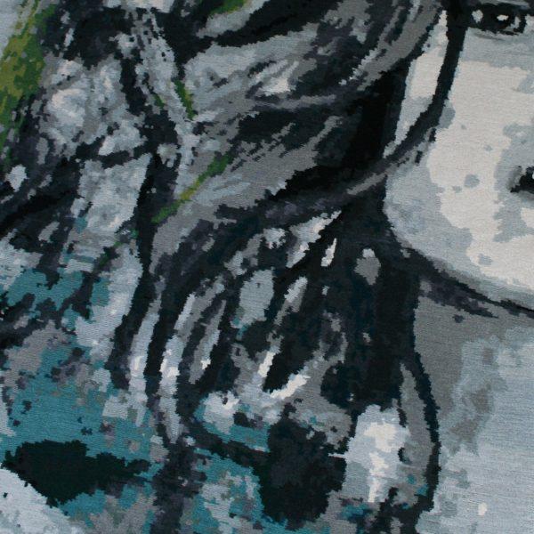 modern rug with girl
