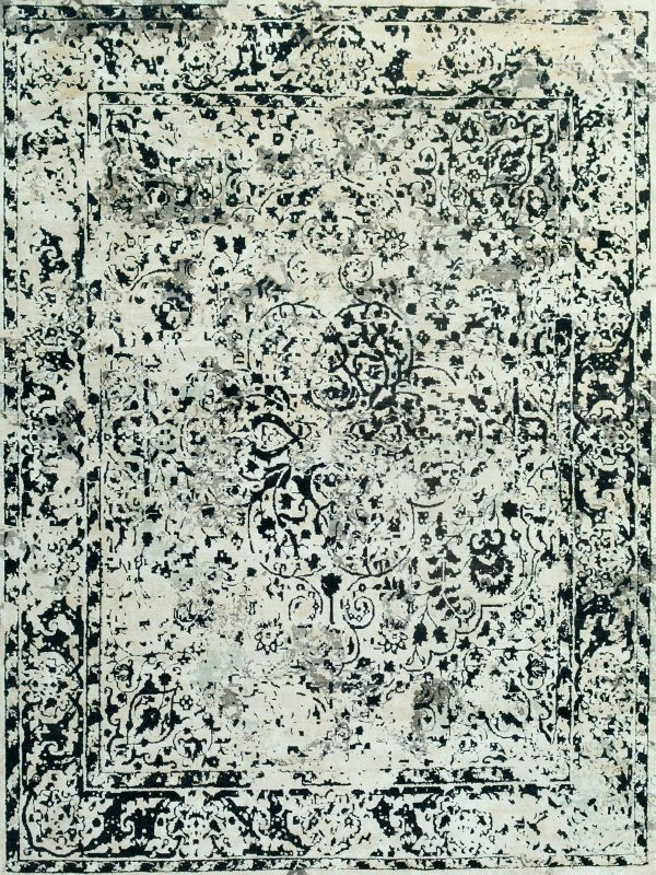 transitional style wool and silk rug