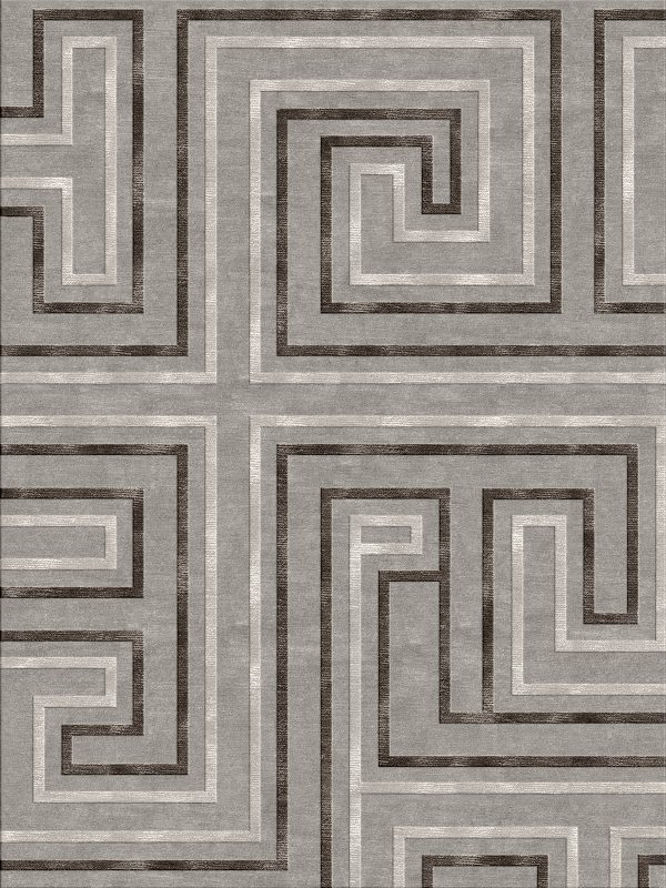 geometric contemporary rug wool and silk