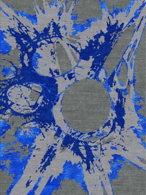 modern rug with blue silk design