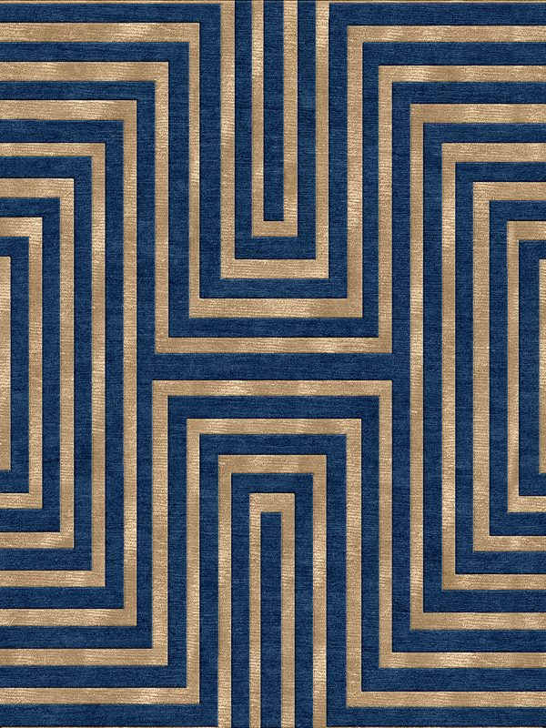 contemporary rug with striped blue and gold