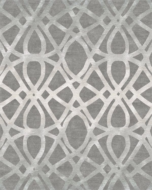 silver geometric hand knotted rug wool and silk