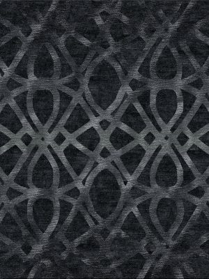 black luxury rug with contemporary silk design