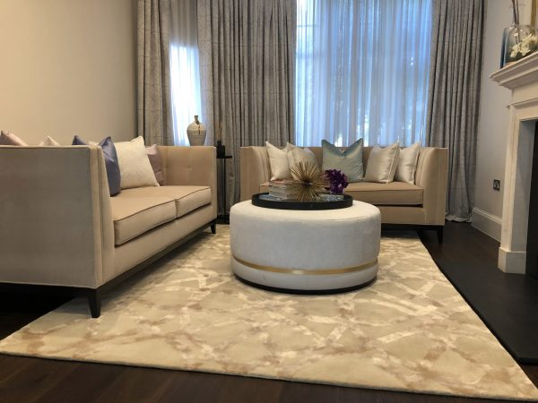 blenheim champagne tufted rug in living room
