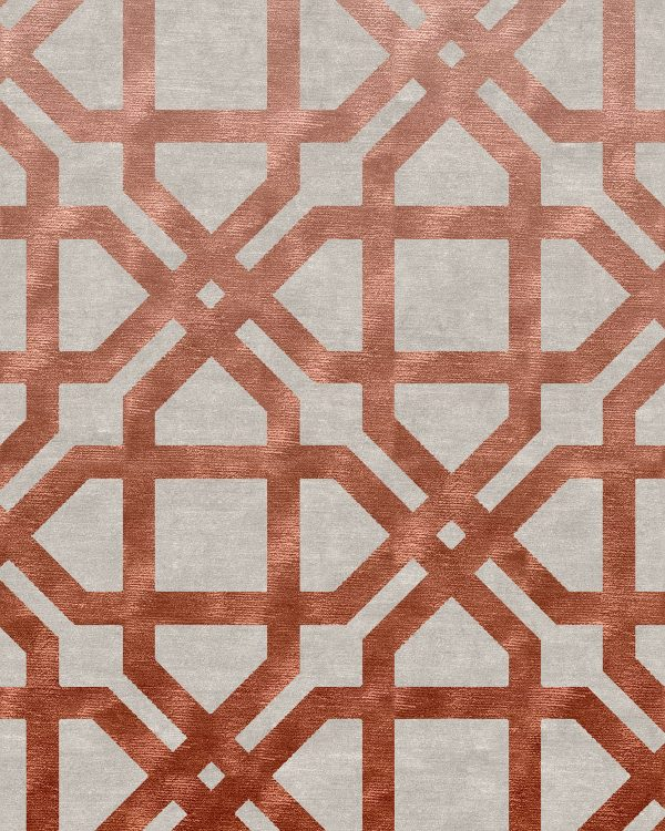 large scale geometric design rug with copper silk