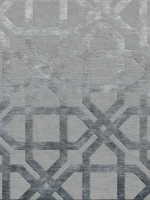 geometric contemporary rug with dark grey silk