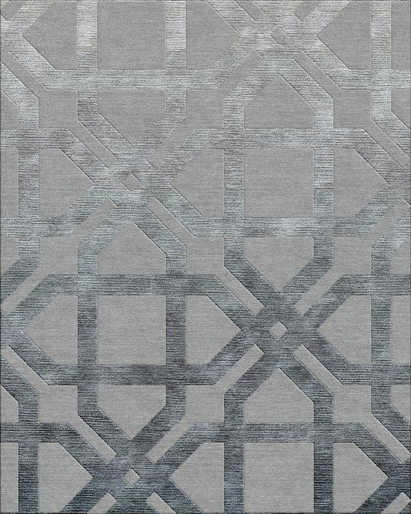 geometric contemporary rug with dark grey silk