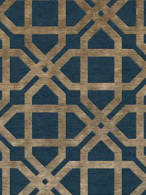 dark blue and gold geometric contemporary rug