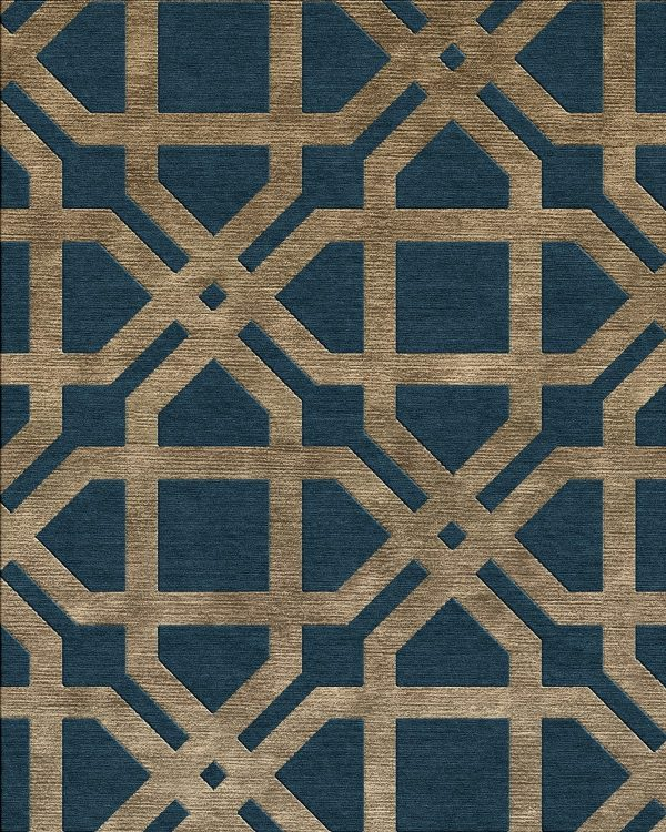 dark blue and gold geometric contemporary rug