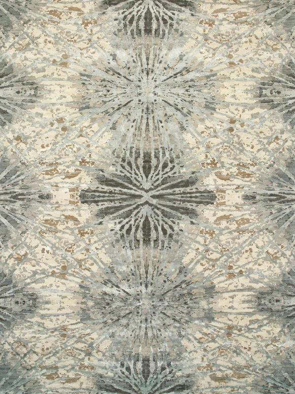 contemporary designer rug in wool and silk
