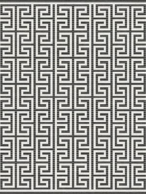 monochrome rug with greek key design